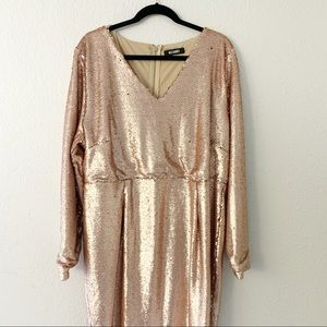 Rose gold Misguided sequin party dress